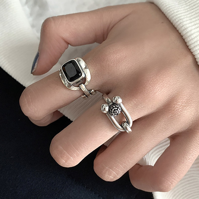 Foxanry 925 Sterling Silver Hiphop Rock Rings for Women Couples New Fashion Creative Hollow Geometric Party Jewelry Gifts