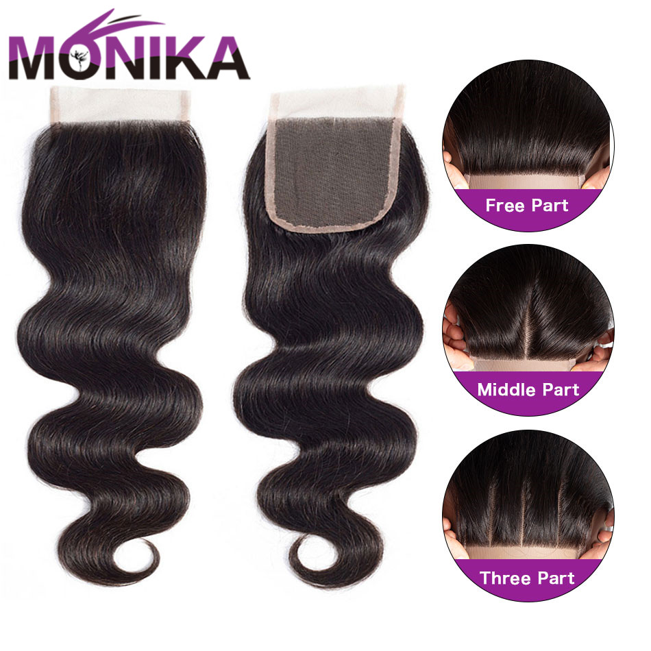 Monika 4x4 Lace Closure Hair Brazilian Body Wave Closure Human Hair Closure Free/Middle/3 Part Swiss Lace Closures Natural Color