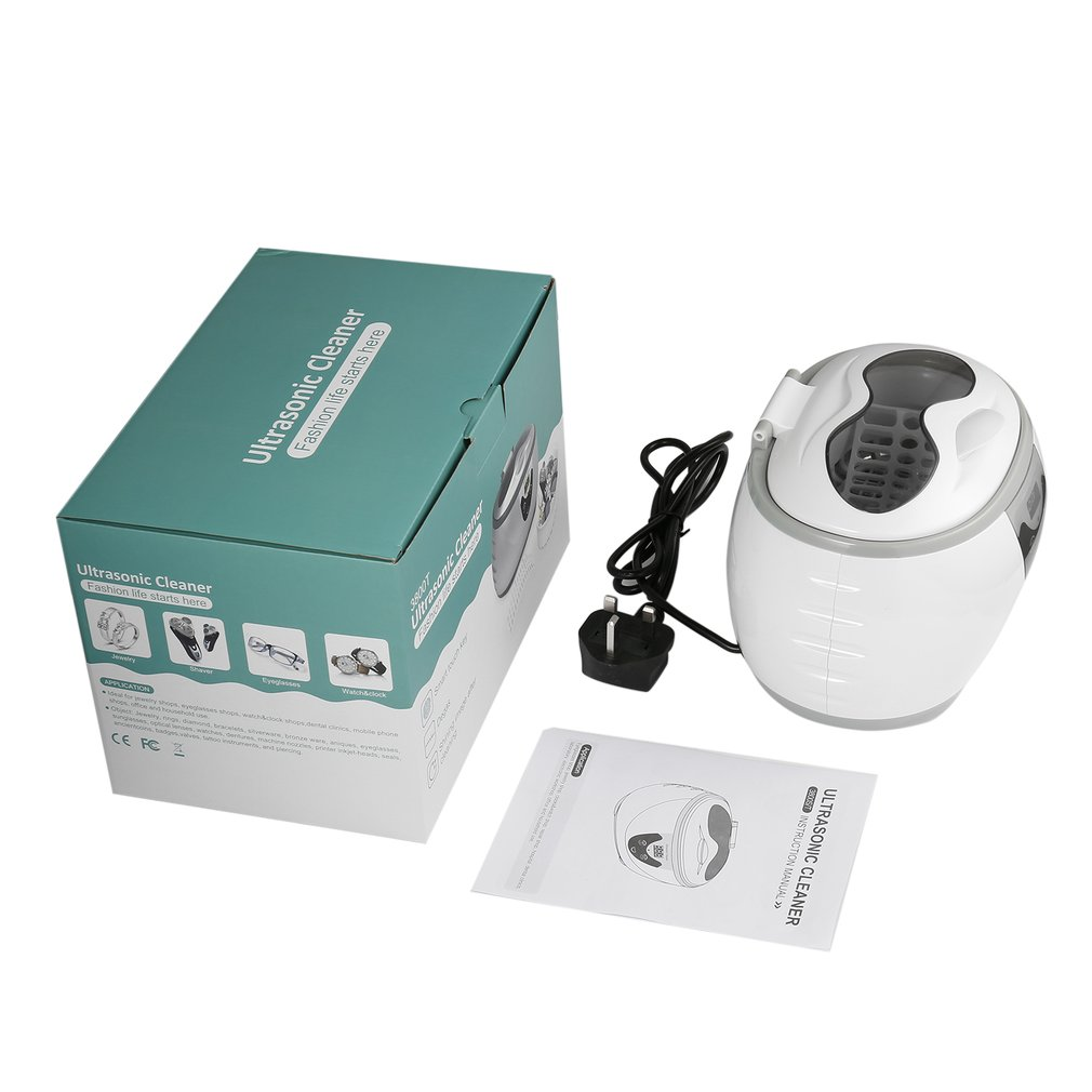 35W 600mL Professional Digital Ultrasonic Cleaner Machine For Eyeglasses Watches Rings Necklaces Coins Razors Dentures Combs