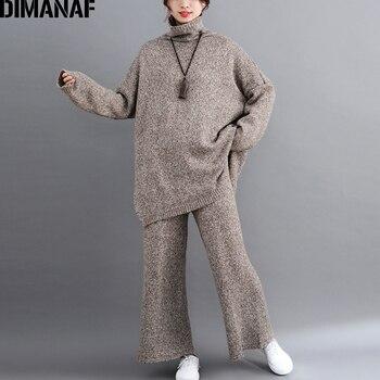 DIMANAF grande taille femmes ensembles hiver Vintage tricot costume grande taille montre de sport ample pantalons longs pull col roulé vêtements féminins