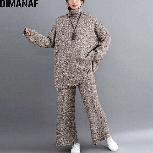 DIMANAF בתוספת גודל נשים סטי חורף בציר סריגה חליפת גדול גודל ליידי חולצות Loose ארוך מכנסיים סוודר גולף נשי בגדים