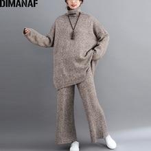 Dimanaf Plus Size Nữ Bộ Mùa Đông Vintage Đan Phù Hợp Với Size Lớn Nữ Áo Rời Quần Dài Áo Len Cao Cổ Nữ Quần Áo