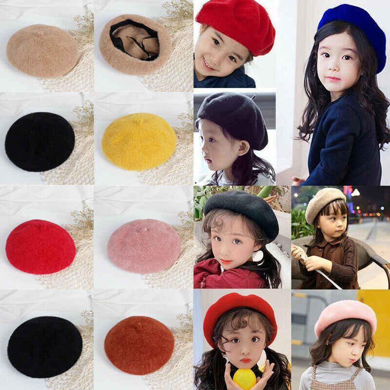 2019 bebek aksesuarları çocuk çocuk şapka kızlar bere sıcak düz bere Newsboy sonbahar kış kap katı şeker renk bereliler 2-8T