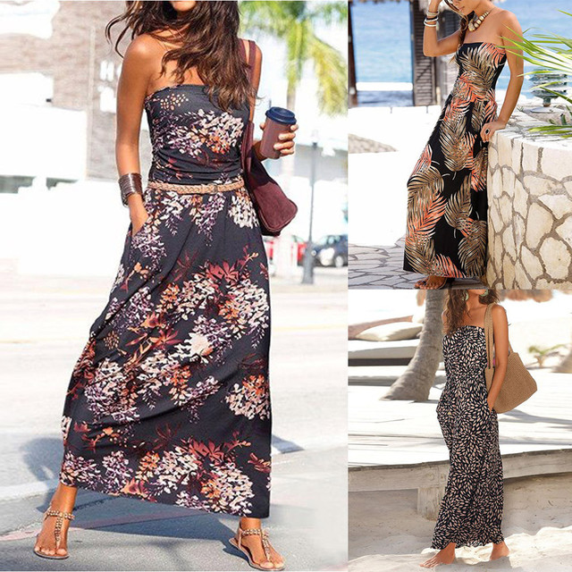 NEDEINS Women Summer Beach Dress Print Neckline Sleeveless Elegant Dress Party Sexy Loose Fashion Stitching Casual Plus Size 5