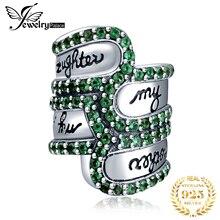 JewelryPalace 925 Стерлингового Серебра Зеленый Цирконий Выгравированы Мама Дочь Друзья Шарм Бисера Fit Браслет