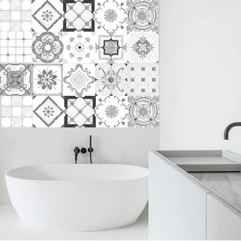 Grey Moroccan Style Tiles Stickers Pvc Waterproof Self Adhesive Wall Stickers Bathroom Diy Removable Tile Sticker Aliexpress