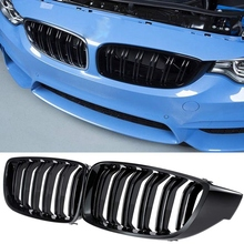 Front Grill Grilles Kidney Grill Replacement for BMW 4 Series F32 F33 F36 F80 F82 Double Slat M4 Sport Style Bright Black