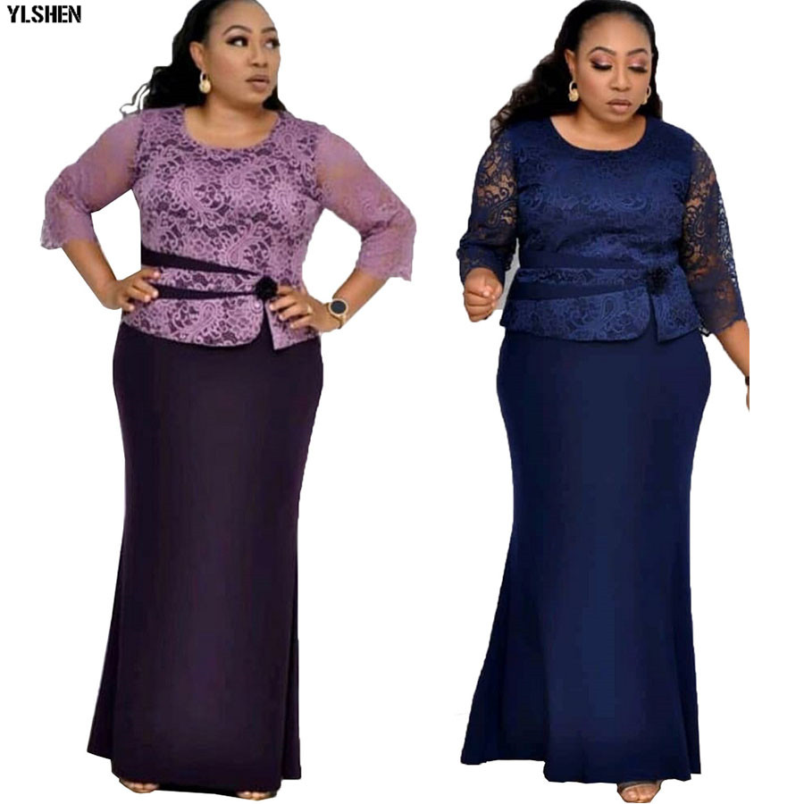 Christmas African Dresses For Women Rose Lace Africa Dress African Clothes Long Maxi Dress High Quality Robe Africaine Clothing