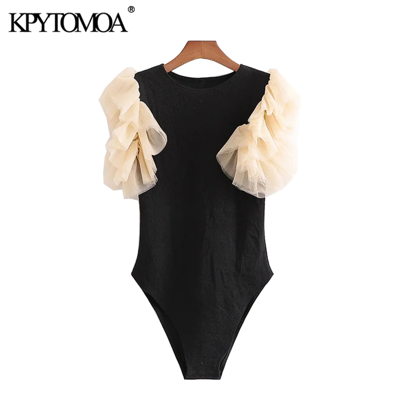 KPYTOMOA Women 2020 Sexy Fashion Patchwork Ribbed Knitted Bodysuits Vintage Tulle Sleeve Stretch Slim Female Playsuits Chic Tops
