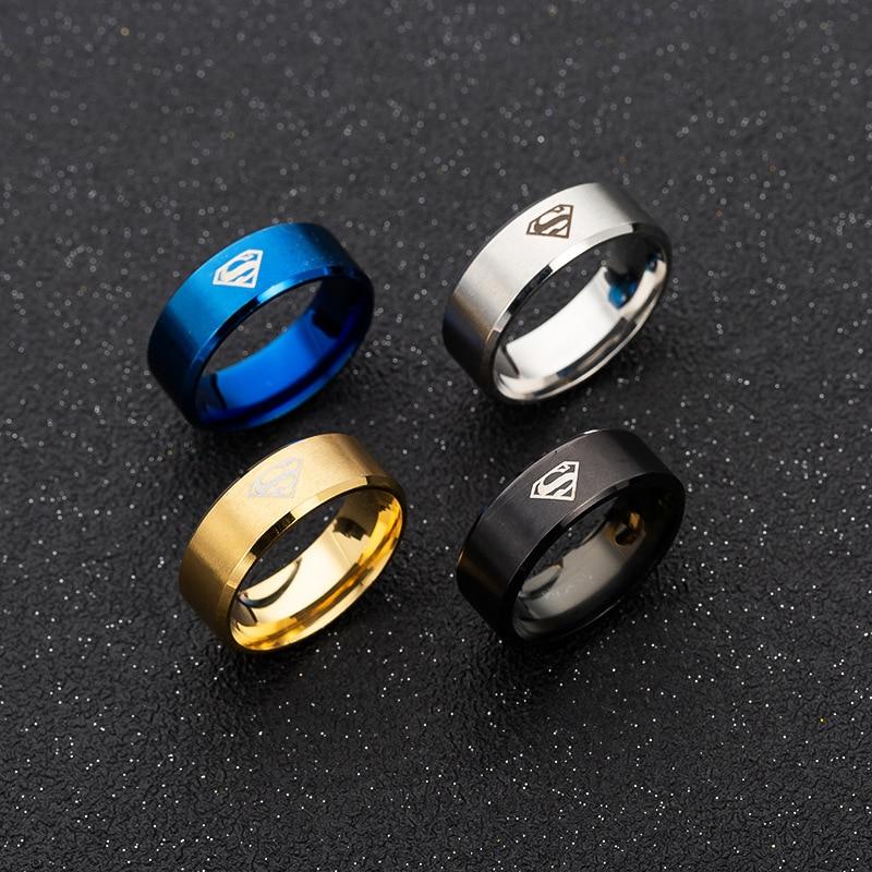 Laser Mark Superman Men's Stainless Steel Anti Allergy Ring Hotsale Hip Hop Men Rings for Women Kids Boys Jewelry Party Gift