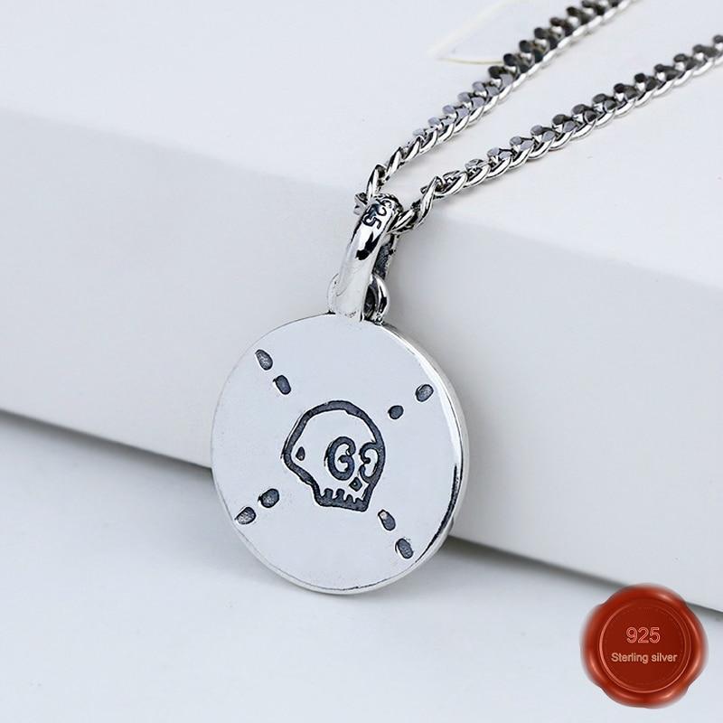 925 sterling silver necklace net red temperament trend chain skull round shape birthday gift Valentine's Day to send girlfriend