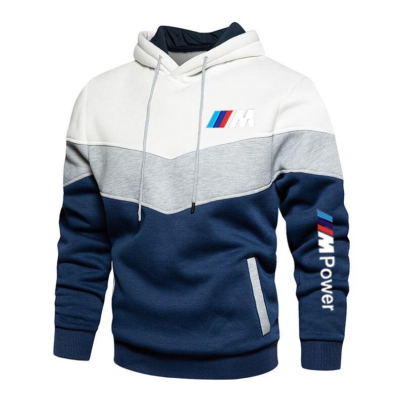 Costura masculina bmw moda outono e inverno com capuz esportes hoodie vestuário casual solto polar velo quente roupas de rua
