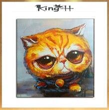 Al por mayor animal colorido lindo gato pared arte cuadros pintura al óleo hecha a mano en lienzo para la decoración del hogar d