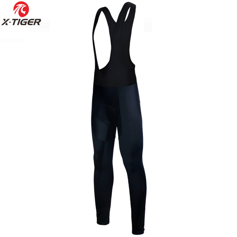 X-Tiger Winter Cycling Thermal Bib Pants With 3D Gel Pad Bicycle Quick-Dry Cycling Pants Keep Warm Whole Black MTB Bike Trousers