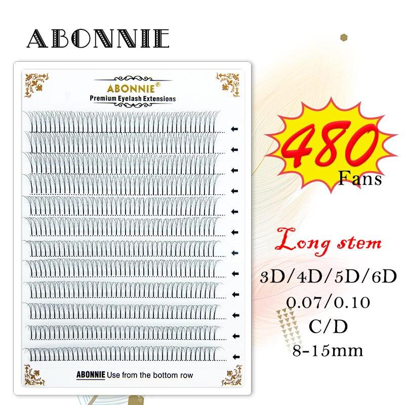Abonnie große Vorgefertigten Volumen Fans 3d/4d/5d/6d Lash Russische Volumen Wimpern Extensions Pre gemacht Lash verlängerung Faux Nerz