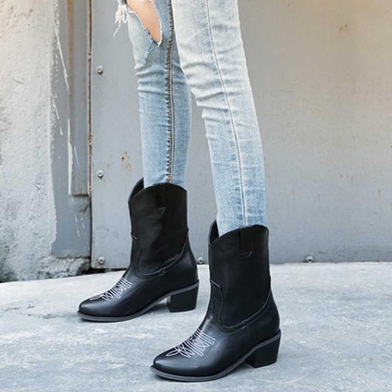 2019 sonbahar kış batı kovboy çizmeleri kadın kare topuk kısa Cossacks kadın patik kovboy Botas yüksek topuklu botines ayakkabı