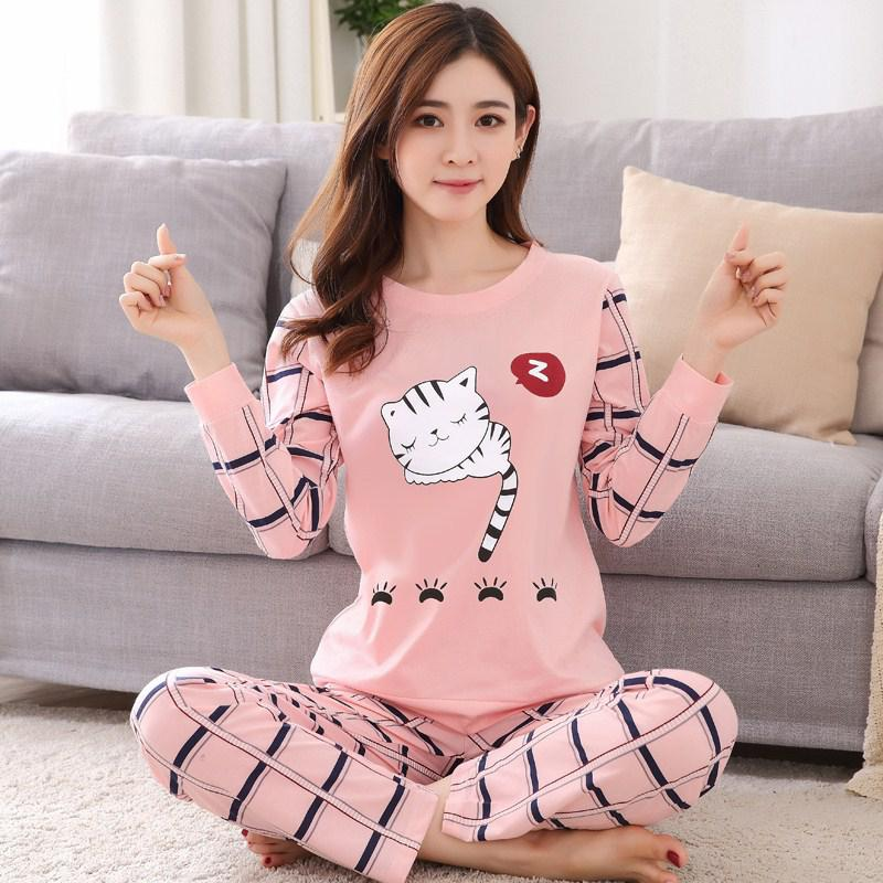 2Pcs/Set Women Cute Cartoon Home Wear Suit Round Collar Long Sleeved Pajamas Autumn Winter Sleepwear