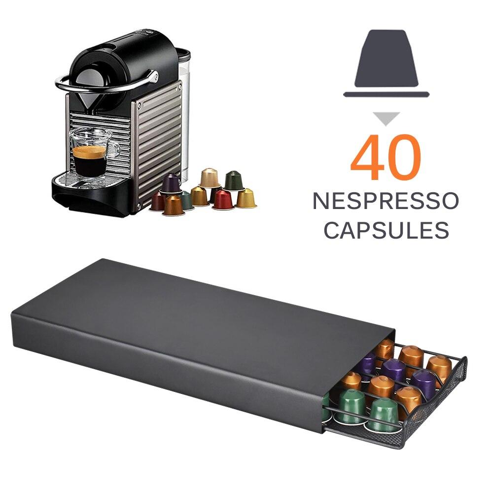 40 ฝักกาแฟแคปซูลจัดเก็บขาตั้ง Practical Coffee ลิ้นชักแคปซูลสำหรับ Nespresso แคปซูลกาแฟชั้นวาง