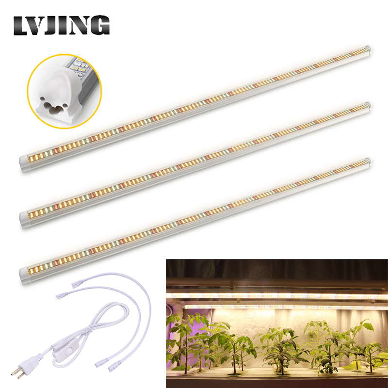 3pcs/lot Full Spectrum Led Grow Light 60W T8 <font><b>Tube</b></font> Bar Led Phyto Lamp Strip for Indoor Plants Flower Growth Seeds Aquarium Tent image