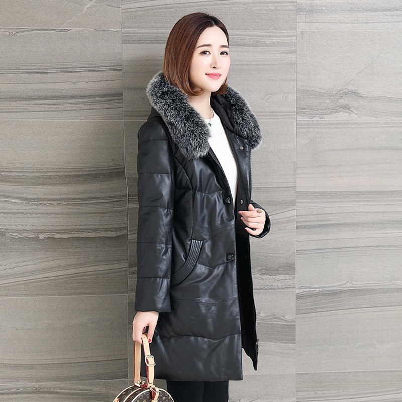 2020 Genuine Leather Down Jacket For Women Sheepskin Fox Fur Hoodie Overcoat Female Elegant Loose Warm Office Outwear Plus Size