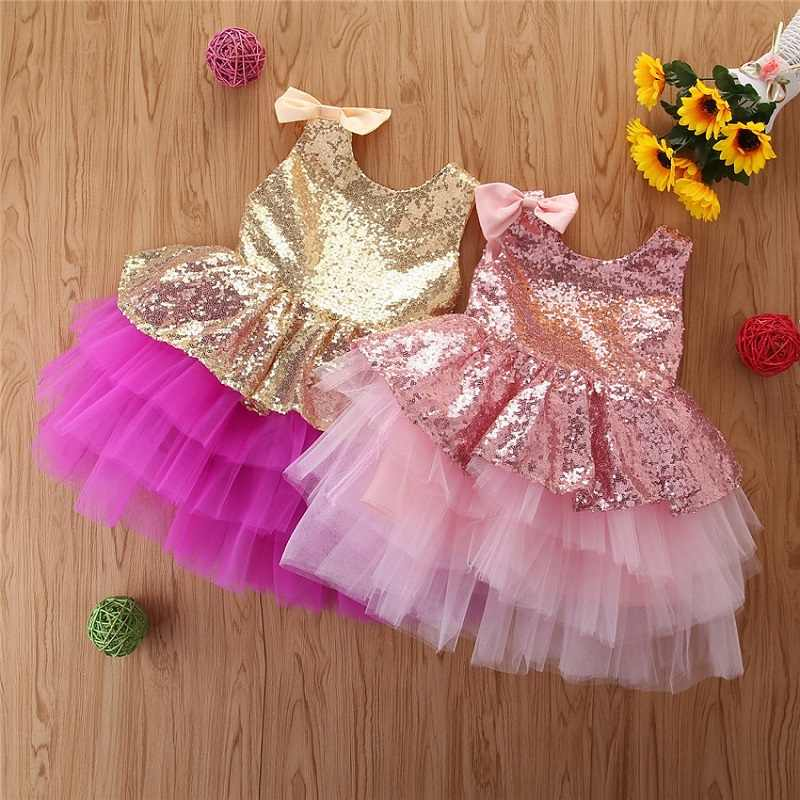 Baby Sequins Tutu Big Bowknot Birthday Party Dress Flower Girls Baptism Dresses