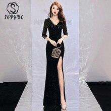 Skyyue Evening Dress V-neck Dresses for Women Blackless Zipper Robe De Soiree Sleeveless Sequin Formal Gowns 2019 F008