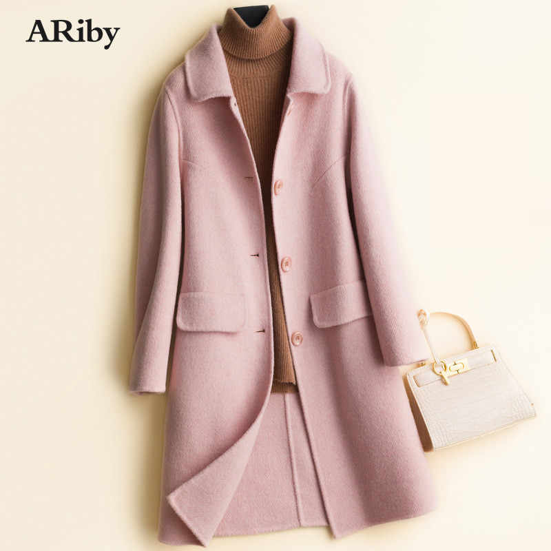 ARiby High-quality Double-sided Cashmere Coat Women's Long Woolen Coat 2019 New 100% Pure Wool Twill Thickened Lapel Jacket Coat