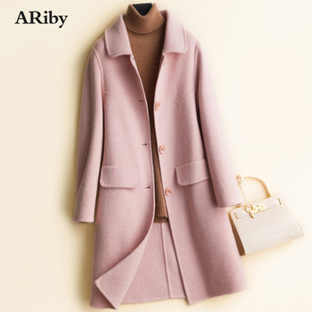 ARiby High-quality Double-sided Cashmere Coat Women's Long Woolen Coat 2019 New 100% Pure Wool Twill Thickened Lapel Jacket Coat notch lapel patch pocket back vent woolen coat