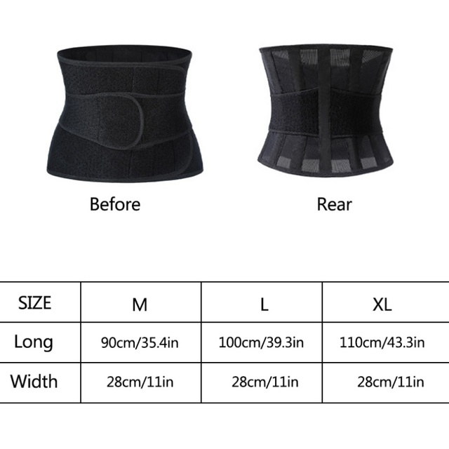 Unisex Fitness waist belt neoprene sweat belt exercise slimming body shaper Adjustable gym training waist trimmer support 5