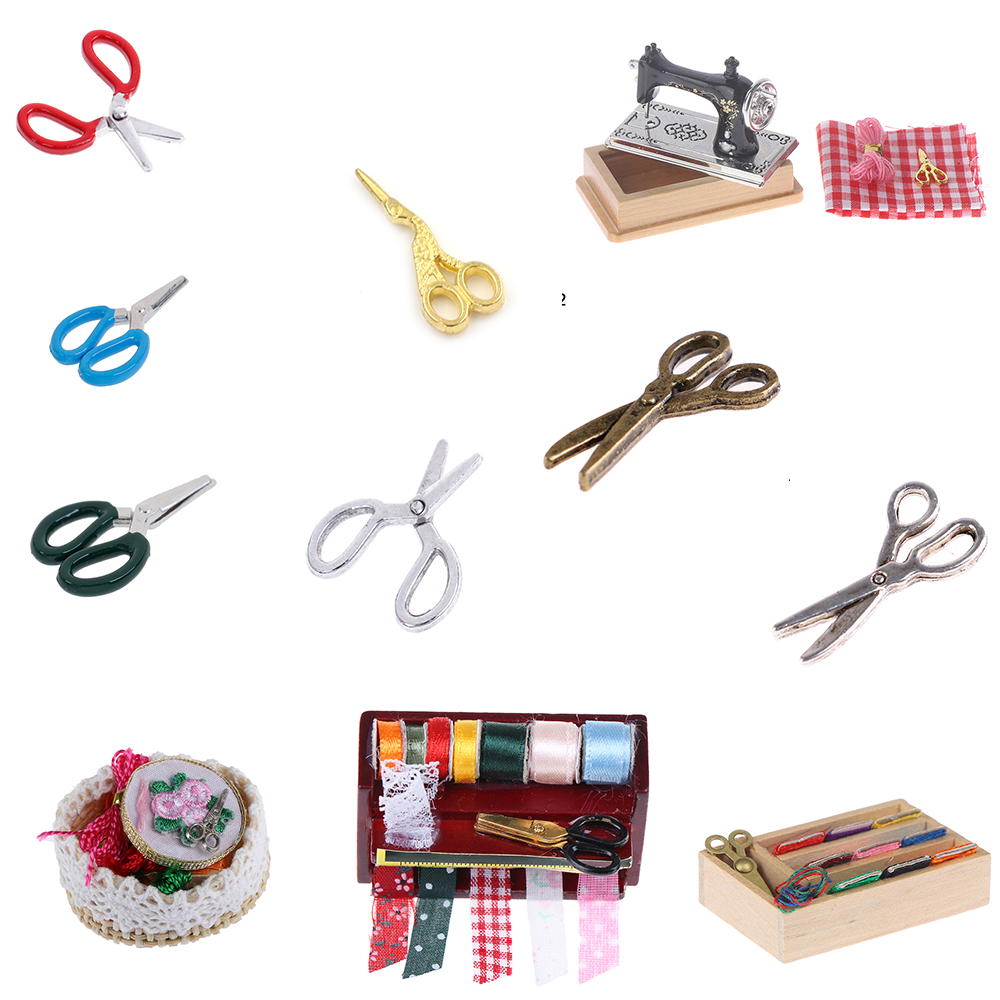 <font><b>1</b></font>:<font><b>12</b></font> Dollhouse Miniature Accessories Simulation Crafts Toys Metal Sewing Scissors Sewing Machine Furniture Toy image