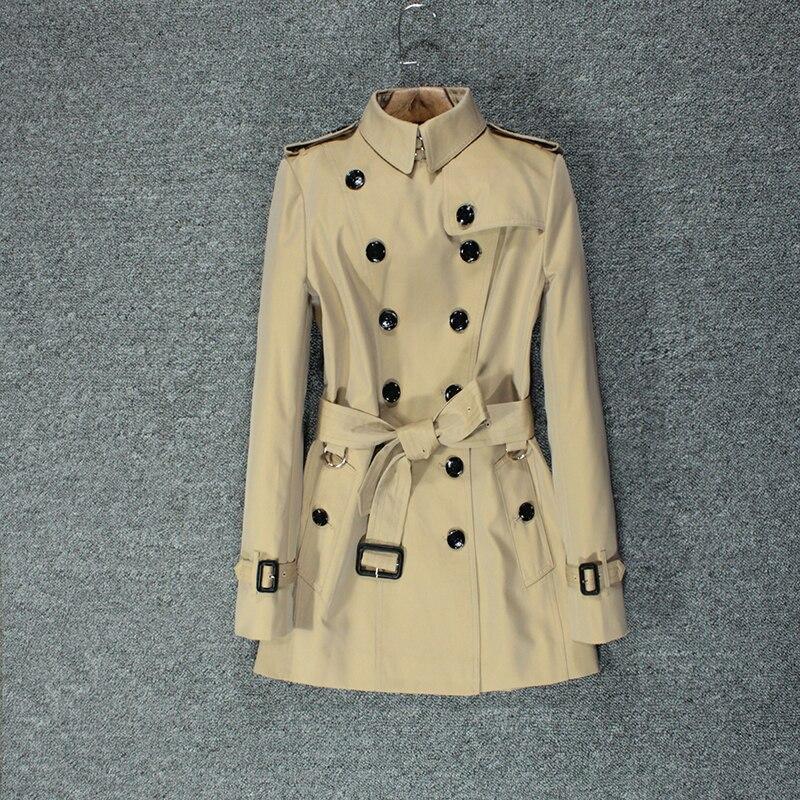 British Windbreaker Female Short Temperament Slim Popular Khaki Double-breasted Coat