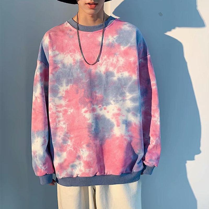 Tie Dye Hoodies Men Sweatshirt Korean Fashion Plus Size Hoodie Mens Tops Boys Aesthetic Clothes Streetwear Sweatshirts Ulzzang