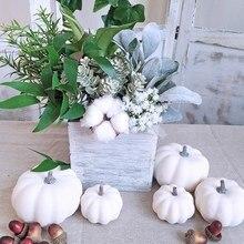 6 шт Поддельные белые тыквы осень Хэллоуин Рождество украшения осенние украшения на День Благодарения Урожай для декора и Displa