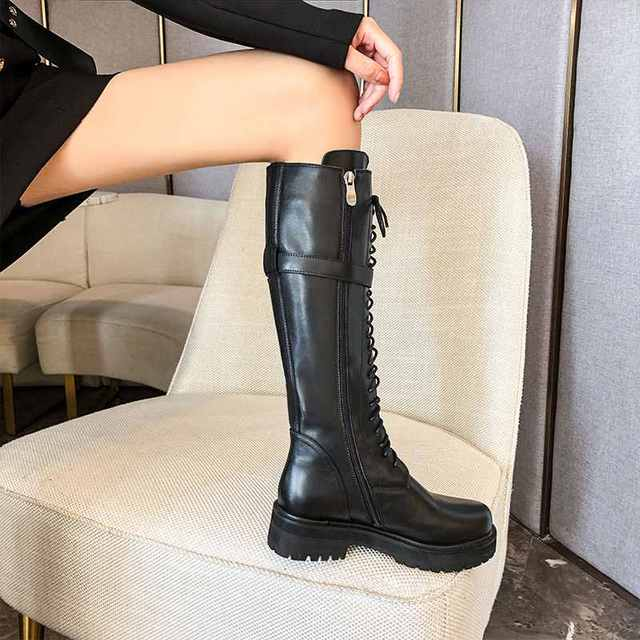 krazing pot genuine leather lace up med heels round toe punk superstar equestrian boots buckle fasteners over-the-knee boots 2