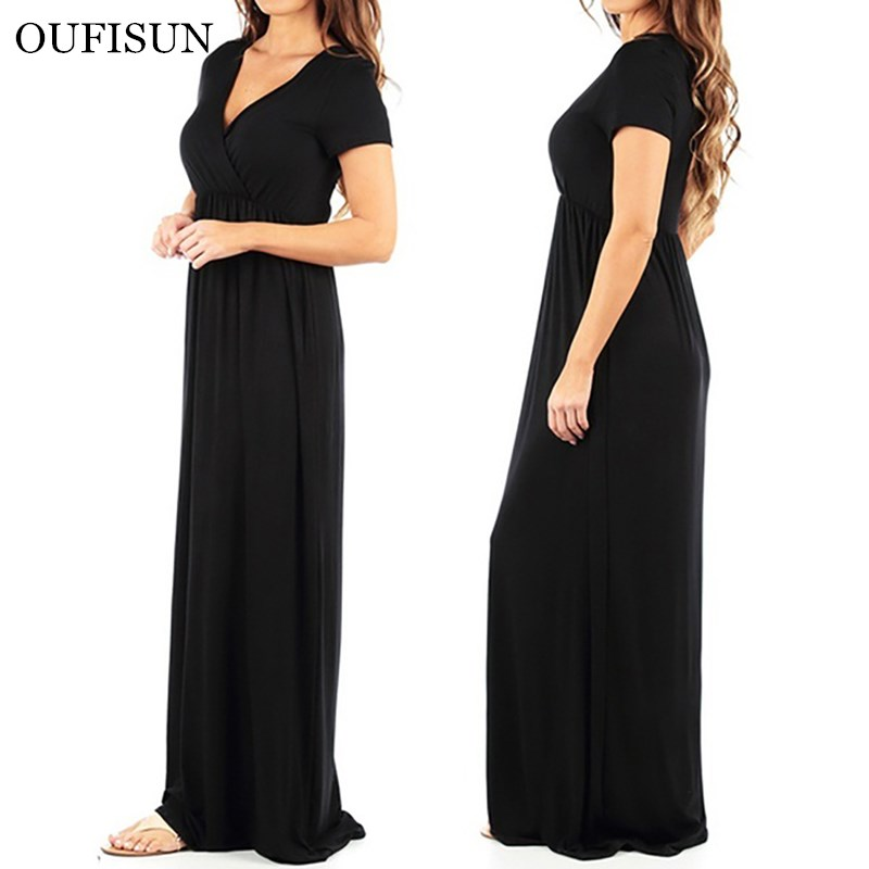 Women Summer Long Dress Sexy V-neck Short Sleeve Solid Maxi Dresses Black Red Elegant Ladies Infinity Robe Longue Femme Dress