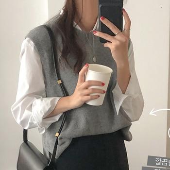 2019 Autumn Beige Round Neck Sleeveless Knitting Vest Korean Fashion Sleeveless Sweaters Gray Color Waistcoat 6