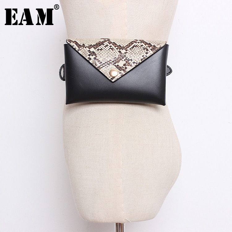 [EAM] 2019 Autumn Winter Woman New Spliced Serpentine Covered Button Square Buckle Single Belt Waistbag Belt All Match LE340