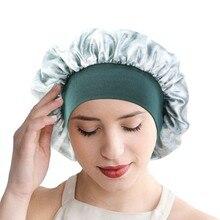 New Tie Dyed Style Elastic Hair Band Satin Bonnet Cheveux Nuit Women Night Cap Shower Cap Make-up Silk Bonnet Wholesale