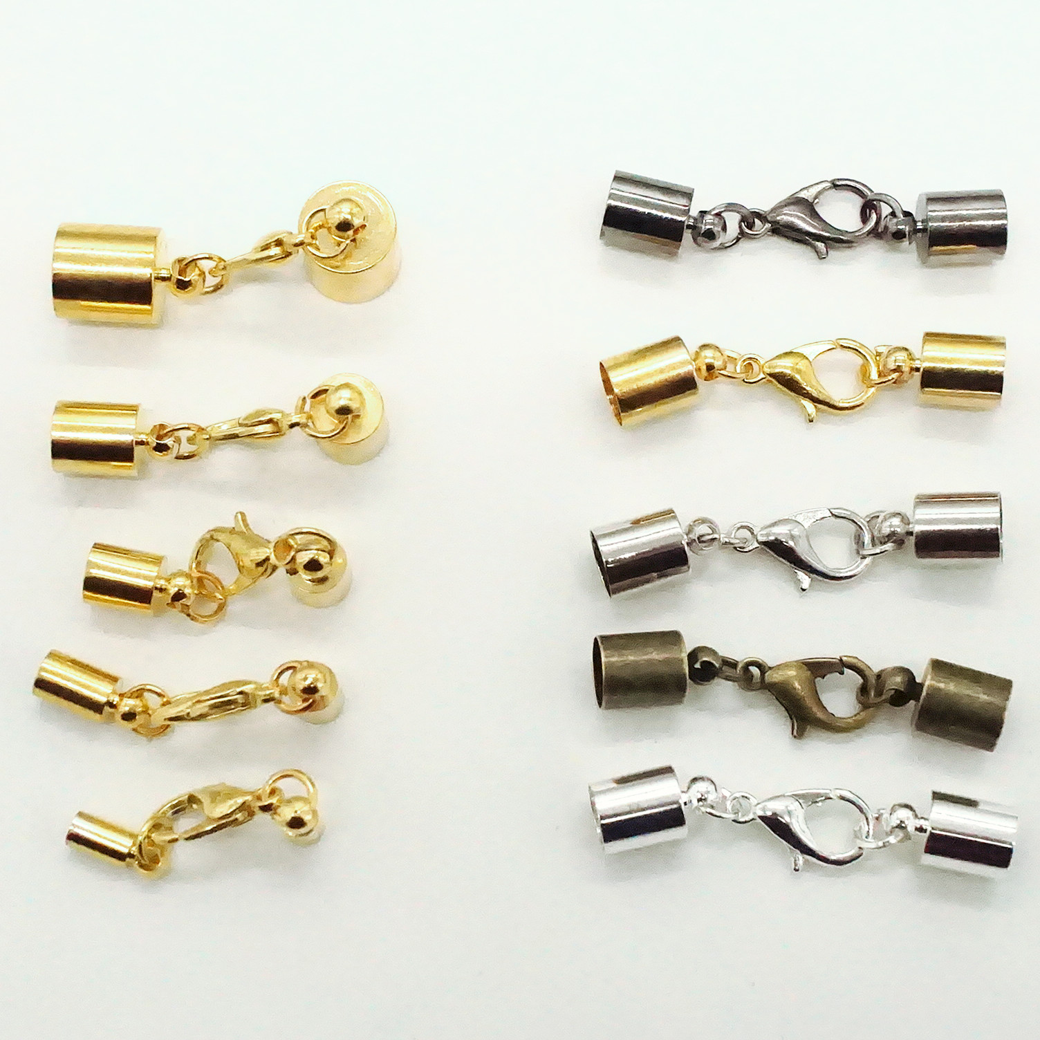 10pcs/Lot Leather Cord Bracelet Lobster Clasps Hooks 3 4 5 6 8 Mm Crimps End Tip Caps Connectors For Jewelry Making Findings