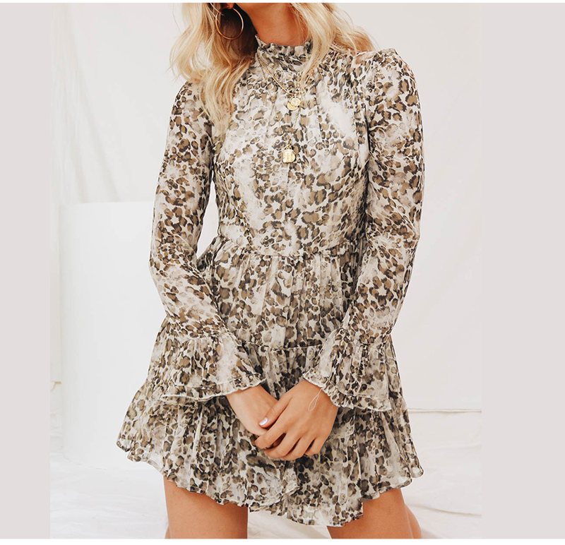 DICLOUD Leopard Print Turtleneck Chiffon Dress for Women 19 Autumn Winter Long Sleeve Mini Party Dress Sexy Clothing Female 4