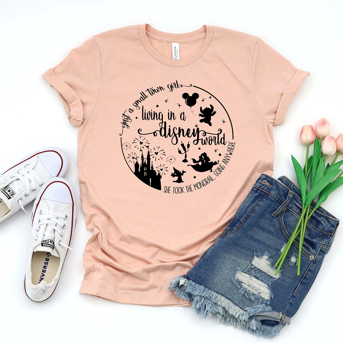 Just A Small Town Girl Living In A World T-shirt Cute Girl Shirt Beauty and The Beast Shirt Magcial Vacation Tee Aladdin tshirt image