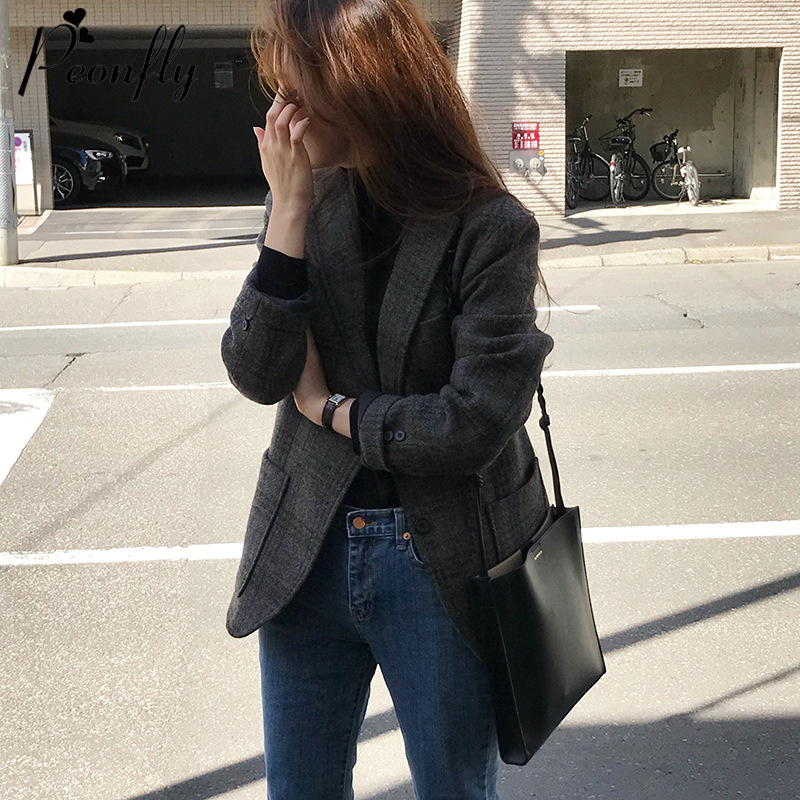 PEONFLY Vintage 2020 Spring Jacket Women Coat Korean Style Plaid Outwear Casual Notched Office Wear Work Jackets Blazer