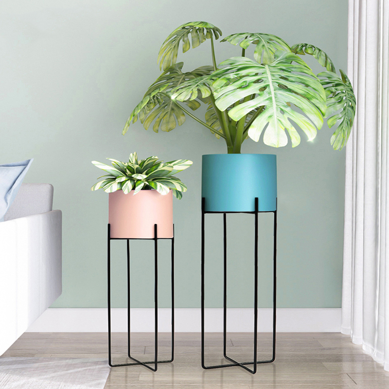 Nordic Wrought Iron Flower Stand Modern Minimalist Flowerpot Indoor Living Room Floor-standing Green Sage Orchid Potted Shelf
