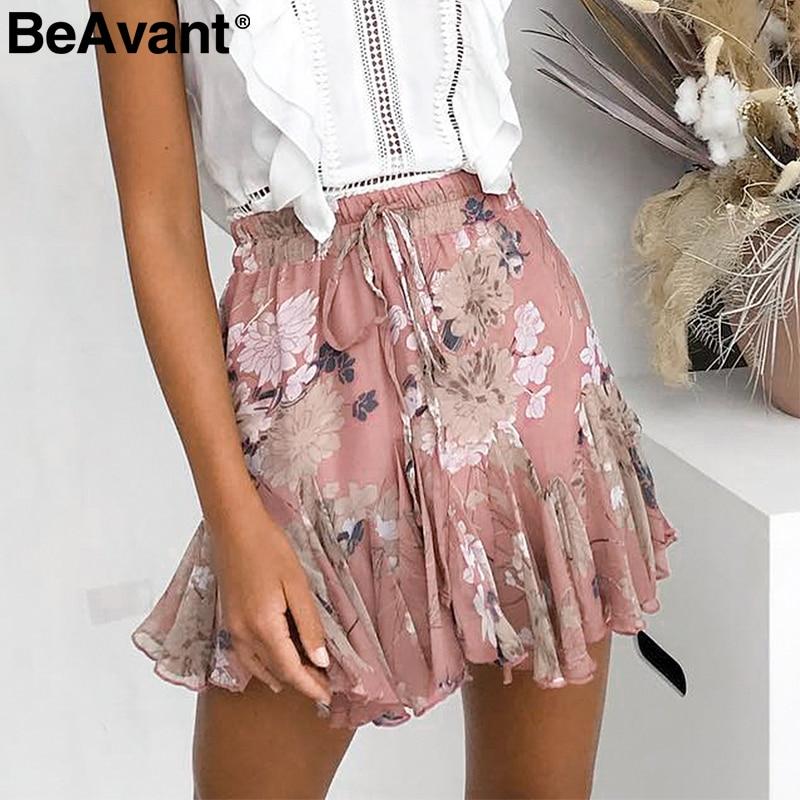 BeAvant богемные летние юбки с принтом женская плиссированная Цветочная короткая юбка в стиле бохо Женская высокая талия шифон Пляжная мини юбка