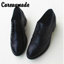 Careaymade-New spring rough-heeled British breeze leisure small leather shoes,hand-made Head layer cowhide womens shoes