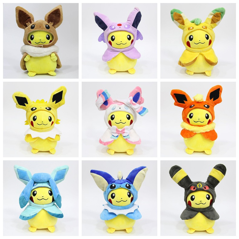 New 28cm Pocket Monster Pikachu Cosplay Eevee Gengar Plush Stuffed Dolls Eevee With Cloak Cos Pikachu Toy For Kids Birthday Gift