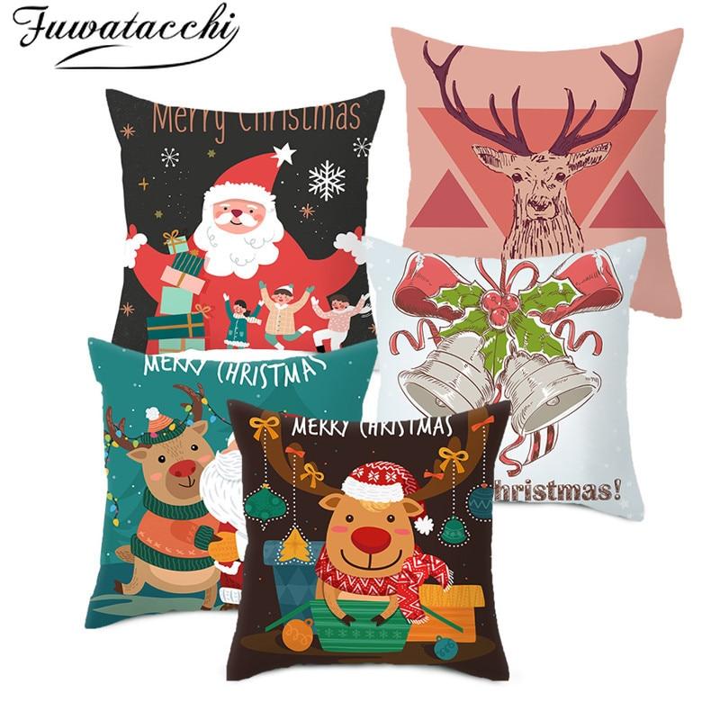 Fuwatacchi Natal Dos Desenhos Animados Fronha Fronha Travesseiros Veados Natal Capas para Cadeira de Sala de estar Decoração 45*45cm