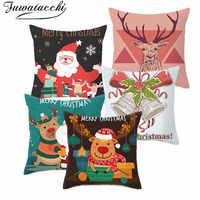 Fuwatacchi Cartoon Weihnachten Kissen Abdeckung Wohnzimmer Dekoration Kissenbezug Deer Weihnachten Kissen Deckt für Stuhl 45*45cm