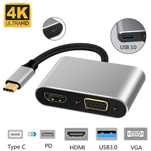 4 in 1 USB C HDMI Type c to HDMI 4K Adapter VGA USB3.0 Audio video Converter PD 87W Fast charger for Macbook pro Samsung s9 s10(China)