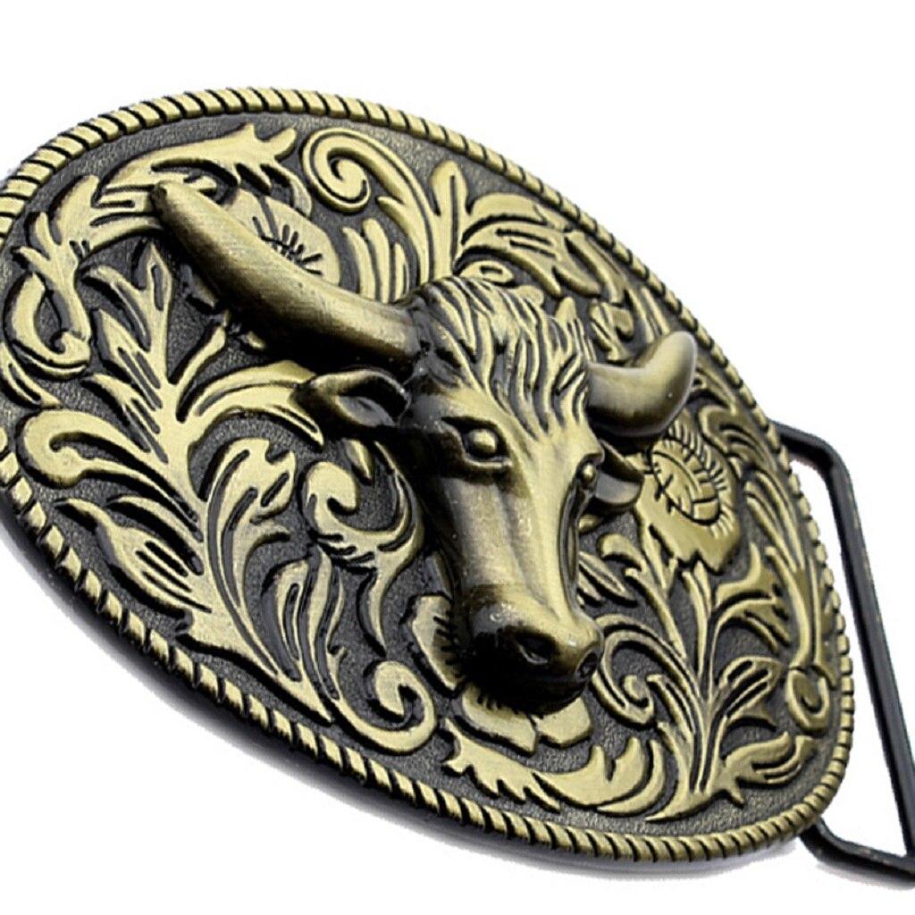 Zinc Alloy 3D Longhorn Belt Buckle Arabesque Buckle Animal For Men Casual
